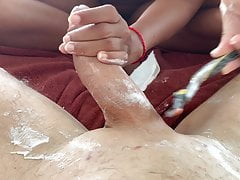 Hung Guy gets his big Penis shaved and creamed