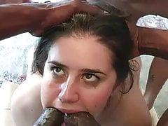 BBC gangbang. Hot brunette made for ganbbang