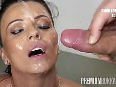 PremiumBukkake - Vicky Love swallows 17 huge cumshots