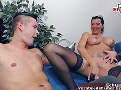 German female boss with big tits seduced by younger guy