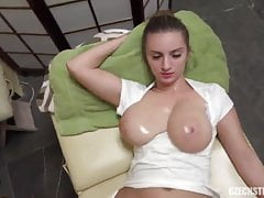 Natural busty masseuse takes money for sex