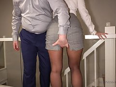 secretary gets 3 cumshots in pantyhose, business-bitch